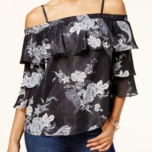 Womens Black Metallic Ruffled Pullover Top Blouse